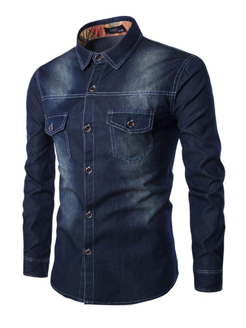 Ericdress Pocket Patched Denim Mens Shirt