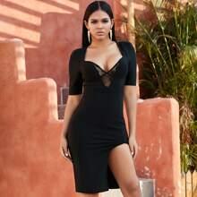 Adyce vestido ajustado de muslo con abertura con malla transparente con bordado