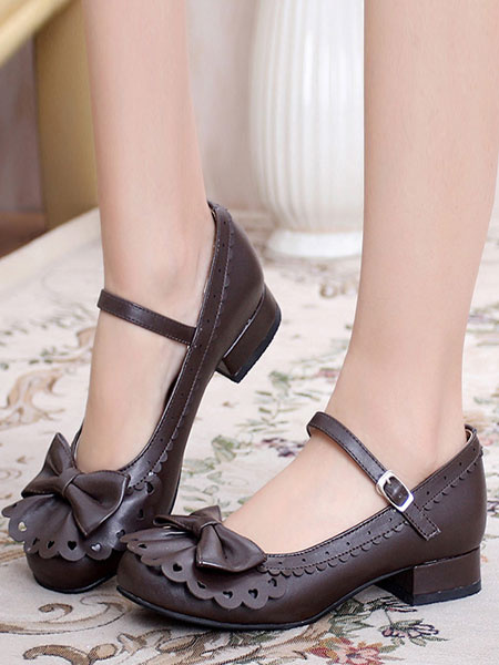 Milanoo Sweet Lolita Shoes Round Toe Chunky Heel Bows Cut Out Pink Lolita Shoes