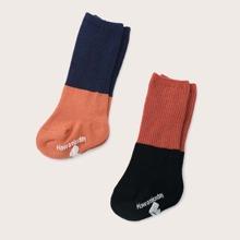 2 Paare Baby Socken mit Farbblock