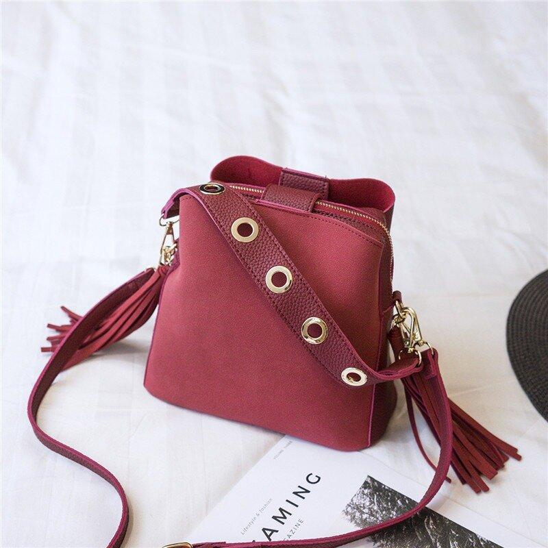 Frosted Vintage Tassel 3-Layer Bucket Bag Shoulder Bag For Women