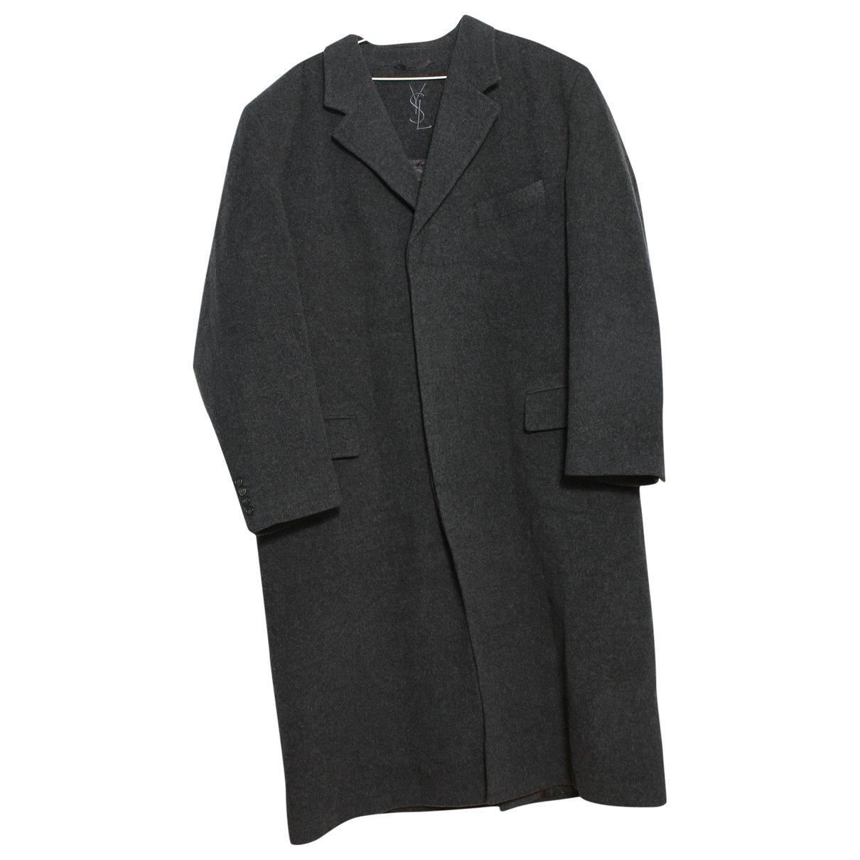 Yves Saint Laurent - Manteau   pour homme en laine - anthracite