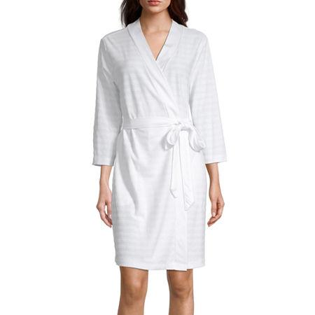 Liz Claiborne Textured Womens Robe Long Sleeve Knee Length, Large , White
