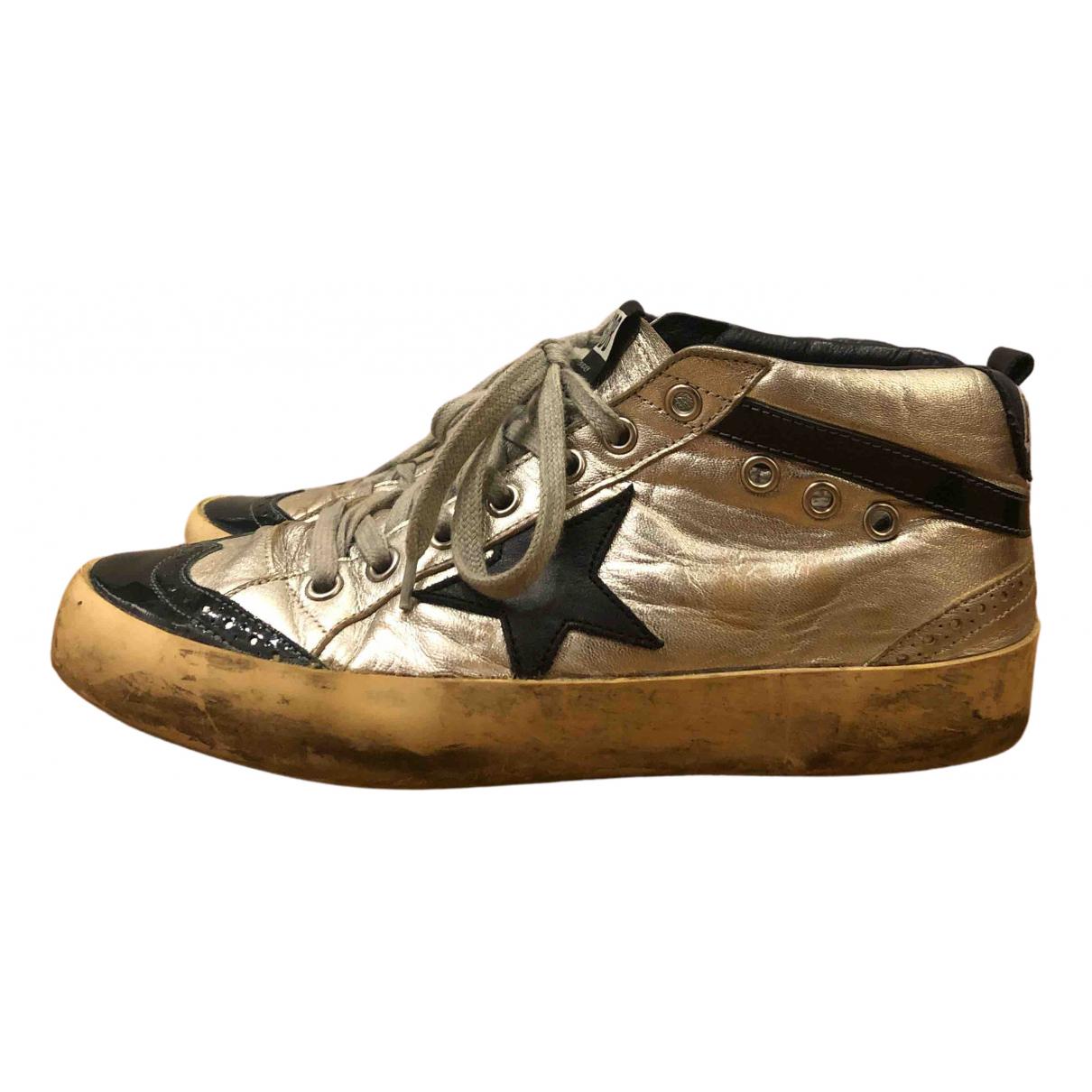 Golden Goose Mid Star Sneakers in  Silber Leder