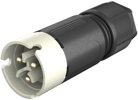 Wieland , RST 08i2/3 Male 3 Pole Circular Connector, Cable Mount, with Strain Relief, Rated At 8A, 50 V, 120 V, Grey (50)