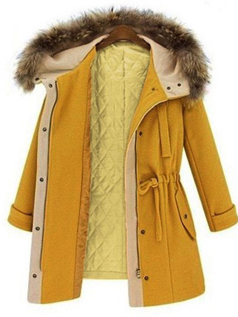 Ericdress Zipper Slim Lace-Up Mid-Length Winter Overcoat
