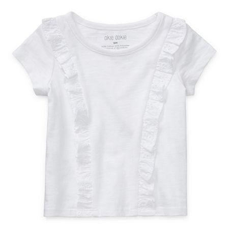 Okie Dokie Baby Girls Short Sleeve T-Shirt, 6 Months , White