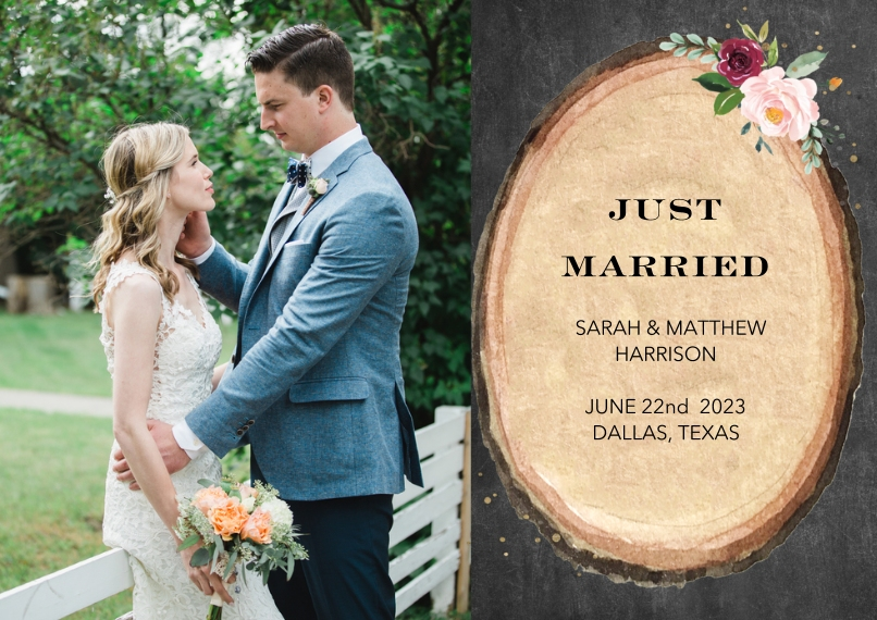 Just Married Flat Glossy Photo Paper Cards with Envelopes, 5x7, Card & Stationery -Wedding Just Married Wood Floral by Tumbalina