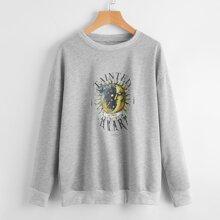 Letter Sun & Moon Graphic Sweatshirt