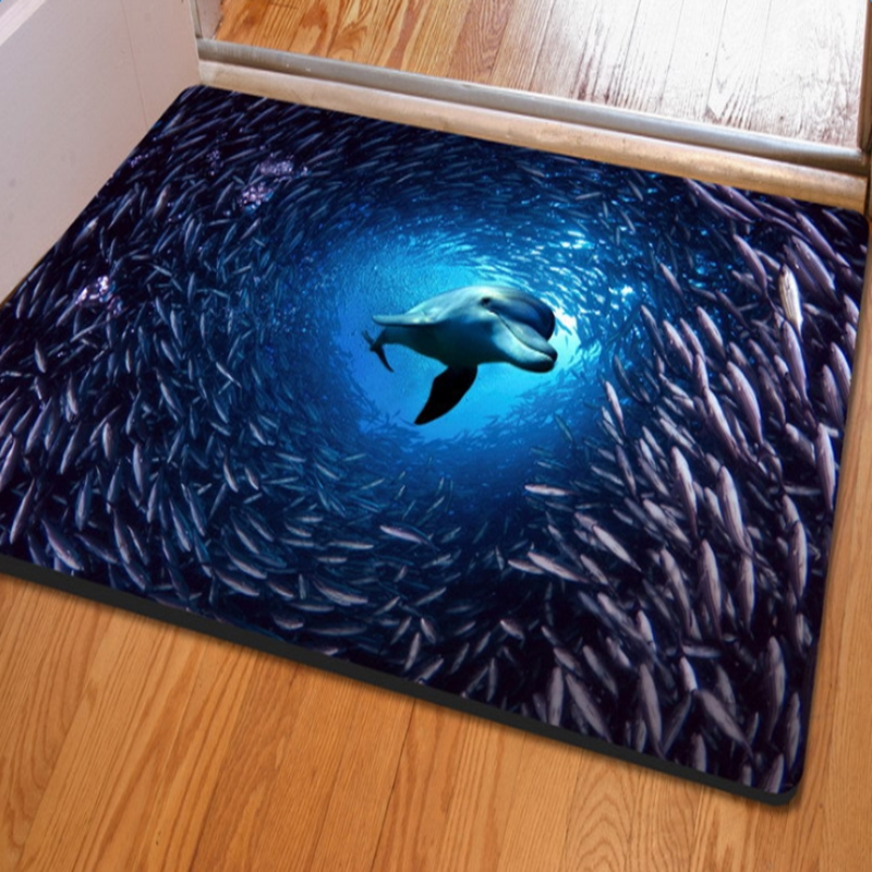Lovely Blue Dolphin and Fish in the Sea Print Home Decorative Non Slip Doormat