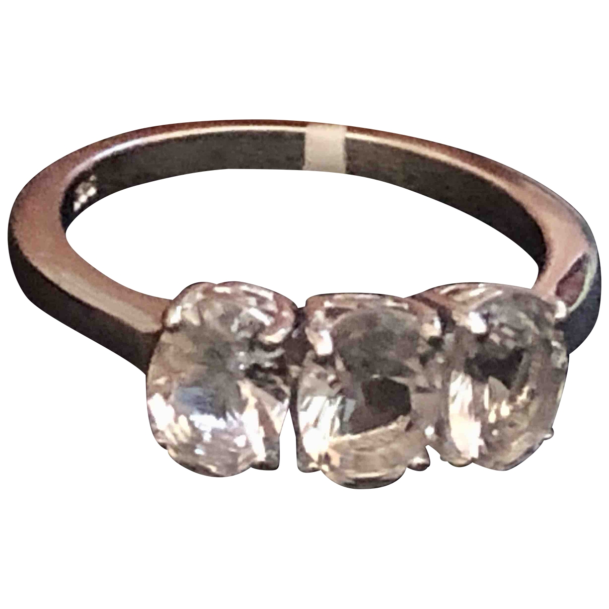 Non Signé / Unsigned Bagues Cocktails White Silver Gilt ring for Women P ½ UK
