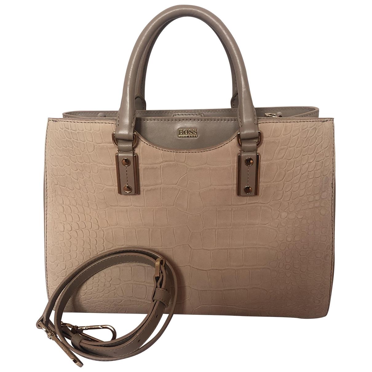 Boss \N Handtasche in  Beige Leder