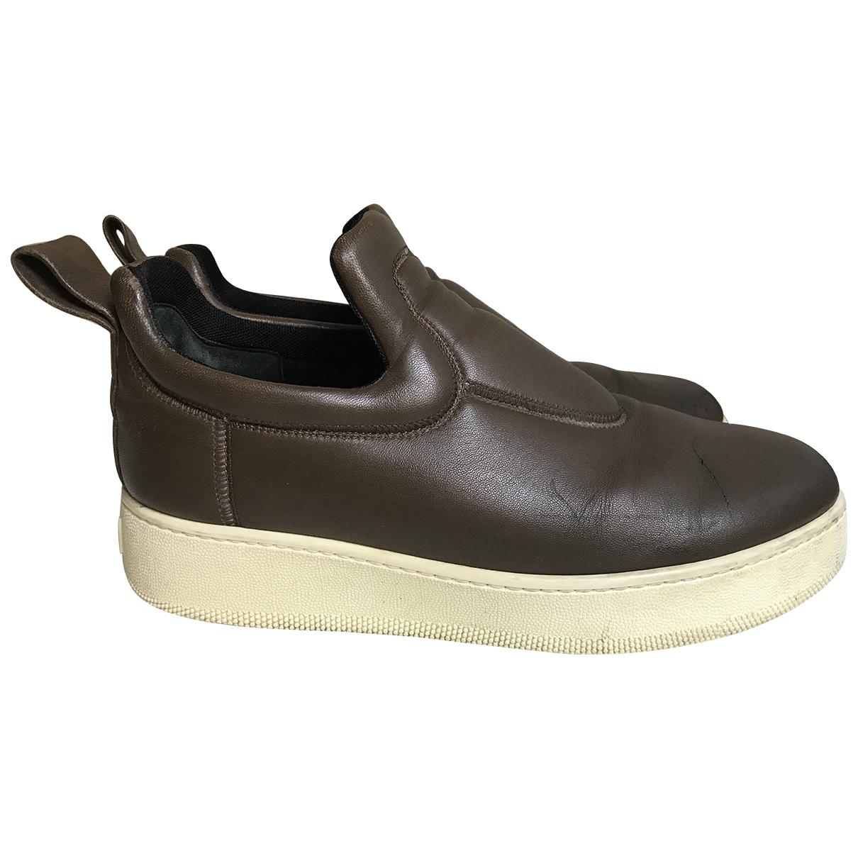 Celine Pull On  Sneakers in  Braun Leder