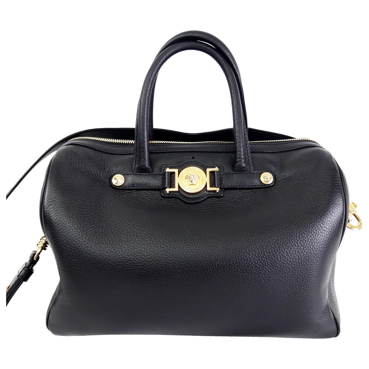 Versace Icon Handtasche in  Schwarz Leder