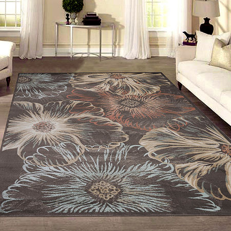 Garda Modern Abstract Floral Area Rug, One Size , Brown