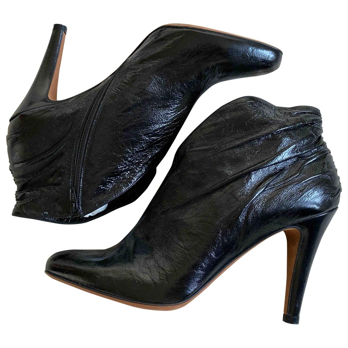 Michel Perry - Boots   pour femme en cuir verni - noir