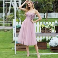 figurbetontes Cami Prom Kleid mit Pailletten und Netzstoff