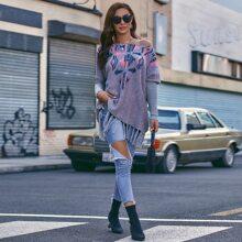 Pullover mit Stamm Muster und Fransen am Saum