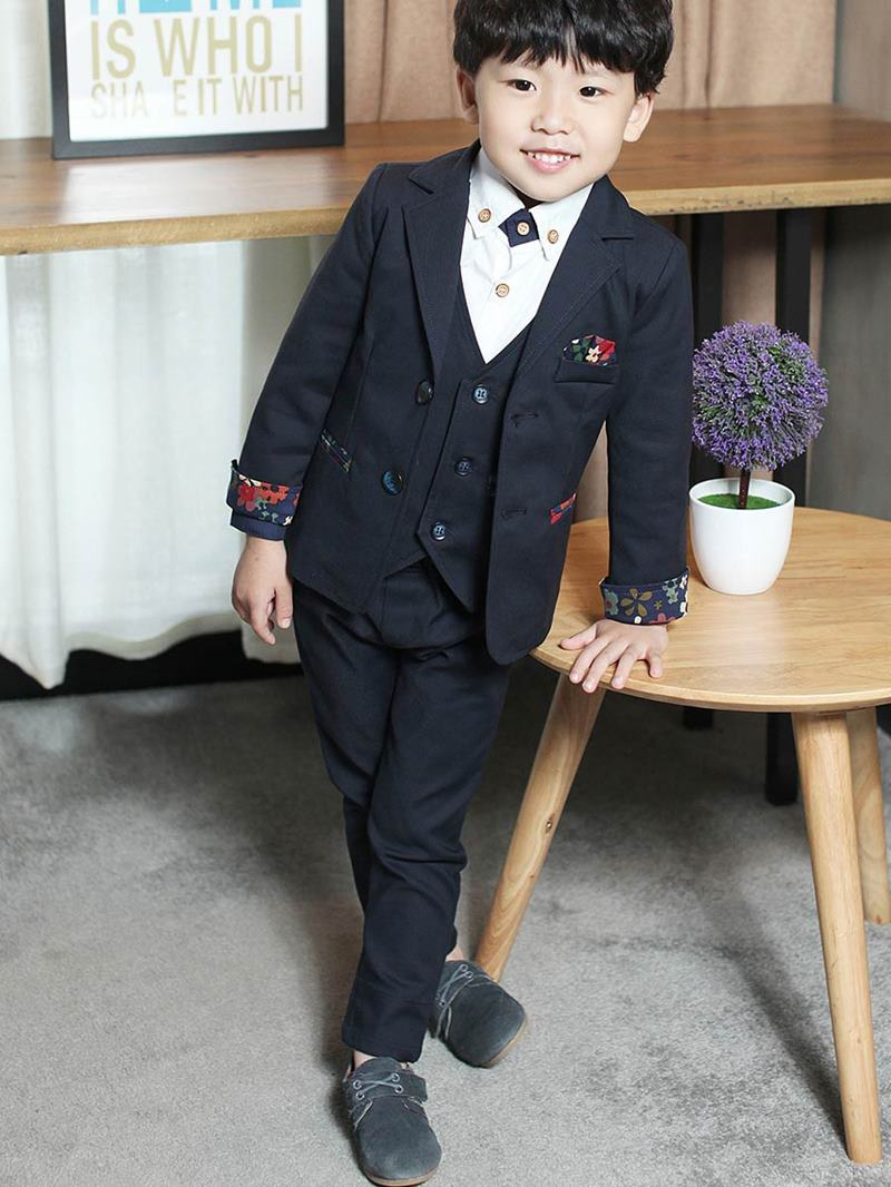 Ericdress Solid Color Vest 3-Pcs Boys Suit