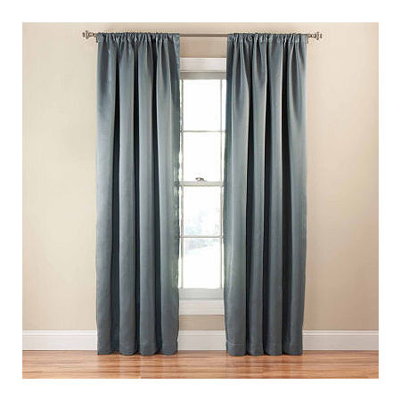 Eclipse Tricia Light-Filtering Rod-Pocket Single Curtain Panel, One Size , Blue