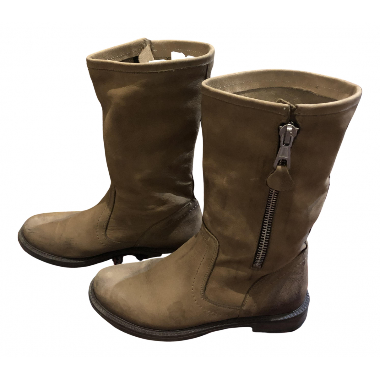 Non Signé / Unsigned N Beige Suede Boots for Women 38 EU