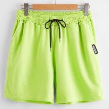 Neon Lime athletische Shorts mit Kordelzug