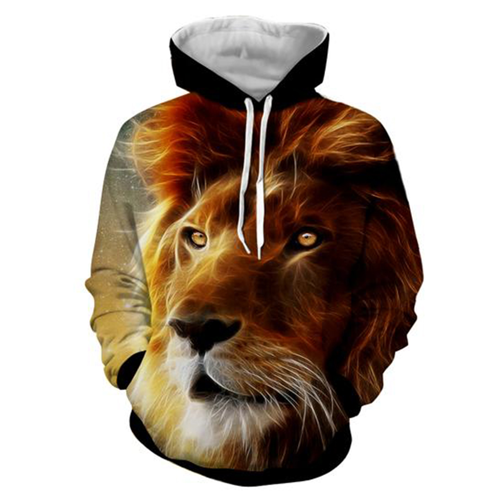 3D Animal Pullover Hooded Men's Sports Hoodies Bright and Soft No fading and No Pilling