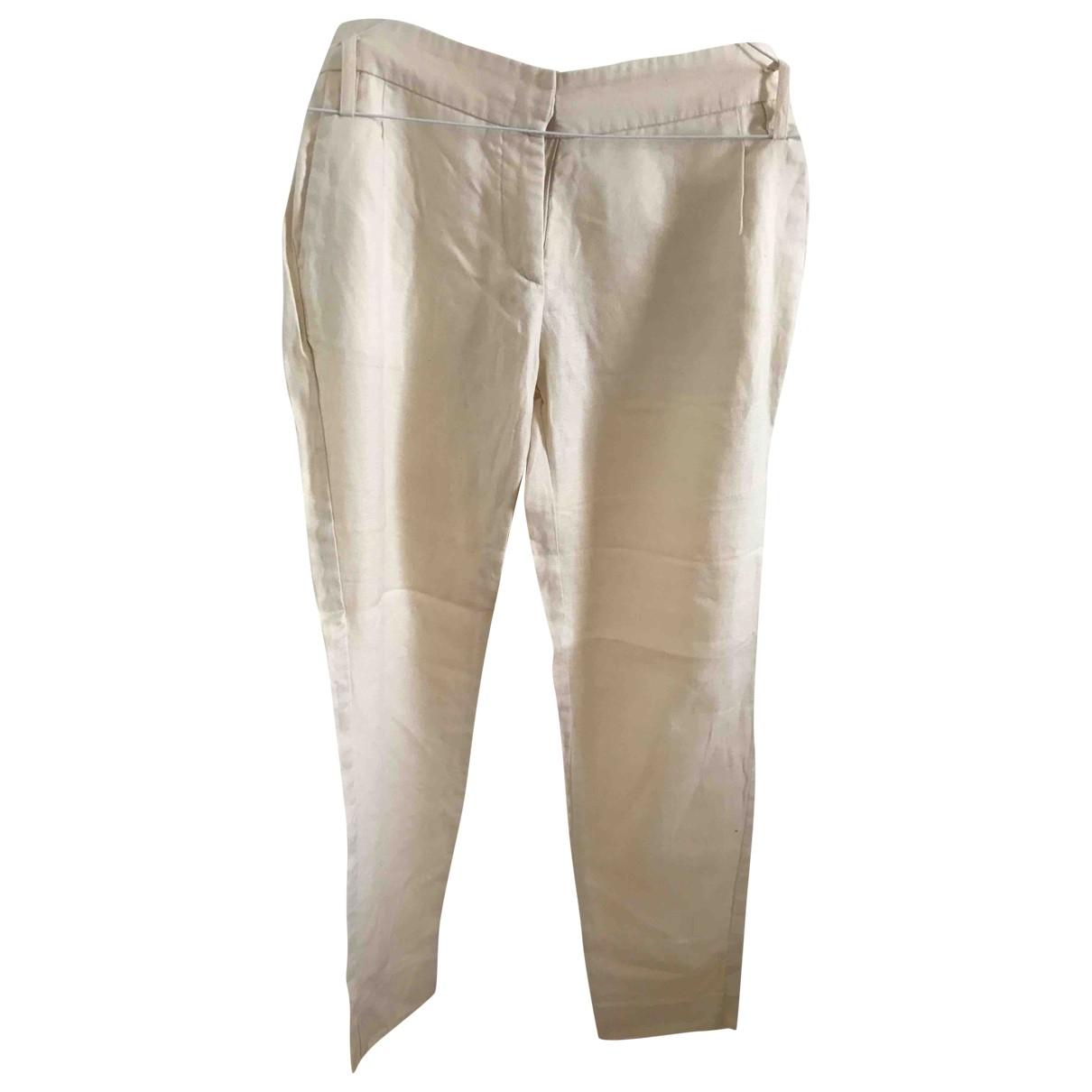 Maison Kitsune \N Beige Linen Trousers for Women 34 FR