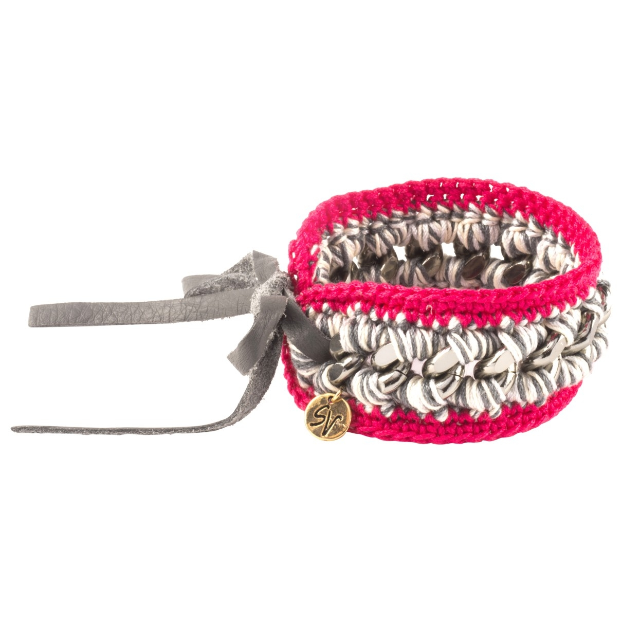 Non Signe / Unsigned \N Armband in  Rosa Metall