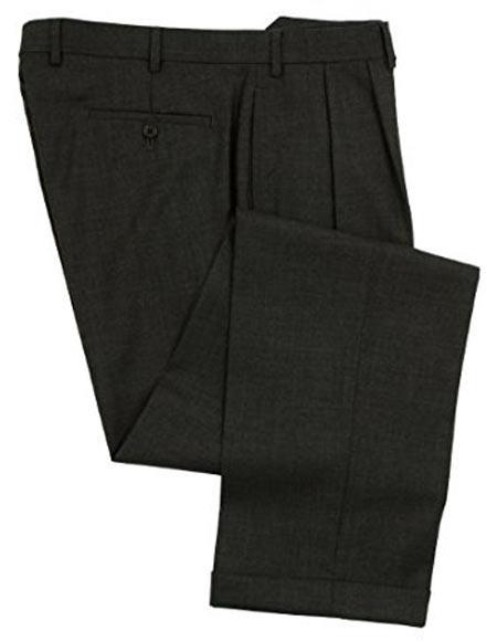 Ralph Lauren 1 Wool Double-Reverse Pleated Lined Dress Pants Charcoal
