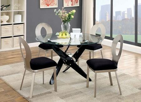 Aero Collection CM3169T4SC 5-Piece Dining Room Set with Round Table and 4 Side Chairs in