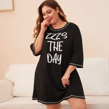 Plus Letter Graphic Contrast Binding Night Dress