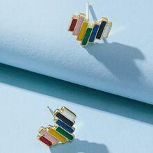 Rainbow Heart Stud Earrings