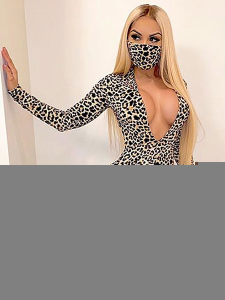 Milanoo Leopard Printed V-Neck Long Sleeves Cupless Polyester Skinny Summer Playsuit