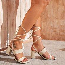 Double Strap Tie Leg Chunky Heels
