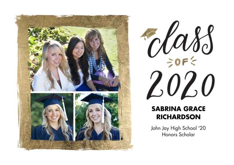 2020 Graduation Announcements Flat Glossy Photo Paper Cards with Envelopes, 5x7, Card & Stationery -2020 Grad Painted Gold Border by Tumbalina