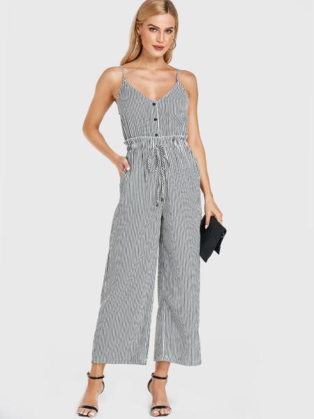 Yoins White Stripe Pockets Drawstring Waist Jumpsuit