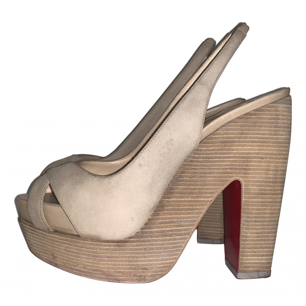 Christian Louboutin \N Beige Leather Heels for Women 37.5 EU