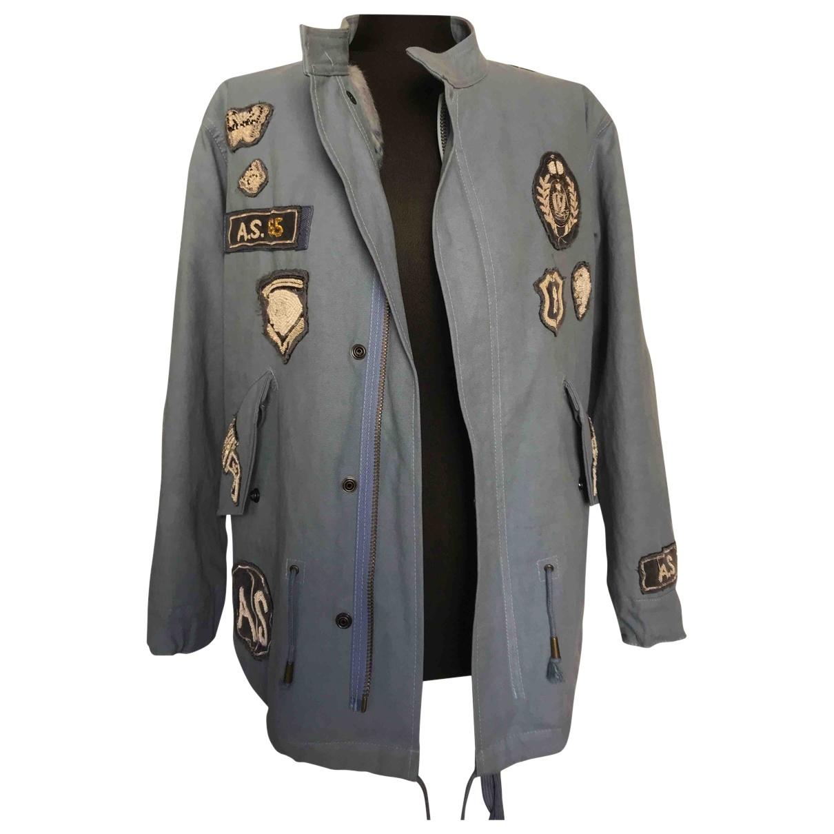 As65 N Blue Cotton jacket for Women XS International