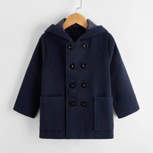Toddler Boys Double Breasted Pocket Front Hooded Overcoat