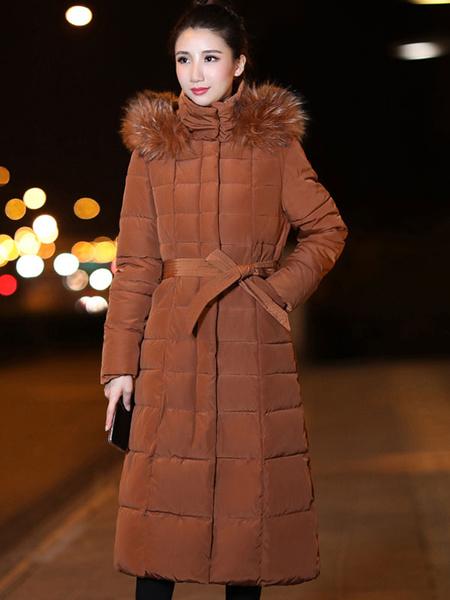 Milanoo Mujeres Puffer abrigo de piel sintetica con capucha bolsillos bolsillos de algodon relleno abrigo de invierno