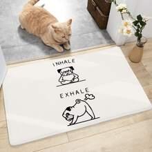 Dog & Letter Print Floor Mat