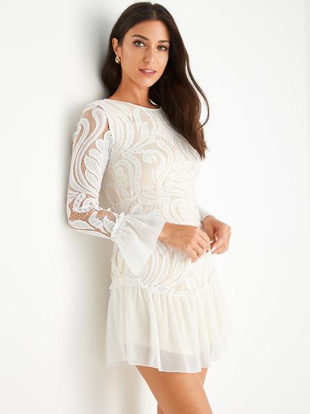 YOINS White Crochet Lace Embellished Ruffle Dress