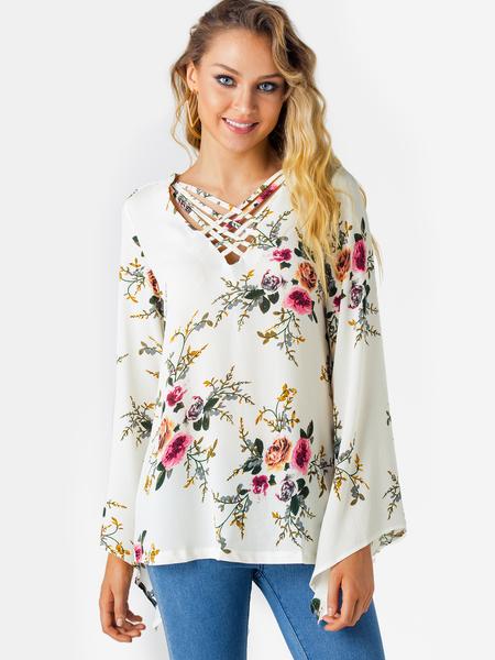 Yoins White Crossed Front Design Floral Print V-neck Bell Sleeves Top