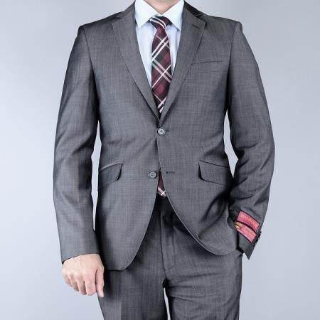 Mantoni Mens Classic Fit Sharkskin Grey Black 2Button Wool Suit