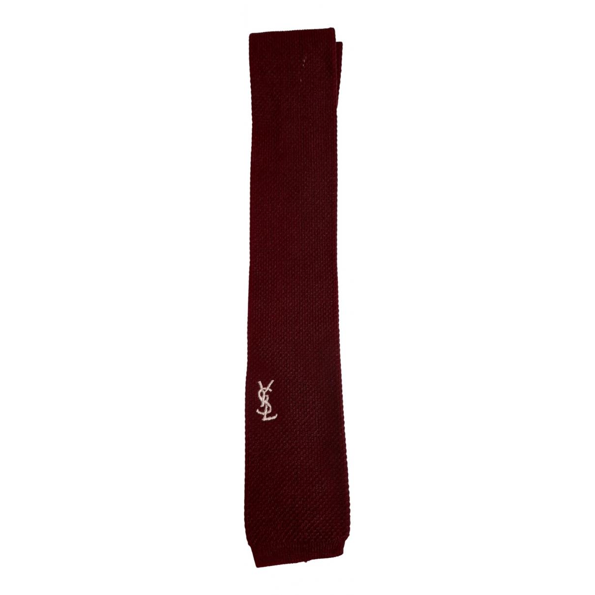 Yves Saint Laurent - Cravates   pour homme en coton - bordeaux
