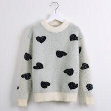 Girls Heart Pattern Fuzzy Sweater