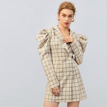 Vestido blazer de cuadros con boton de manga gigot
