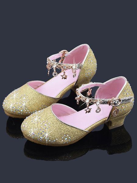 Milanoo Flower Girl Shoes Pink Sequined Cloth Chains Party Kids Shoes For Wedding