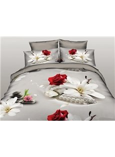 Fresh Magnolia and Rose Print 4-Piece Polyester Duvet Cover Sets